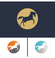 set logo running horse two-colored circle and vector image
