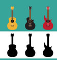 set of guitar in flat and silhouette style vector image vector image