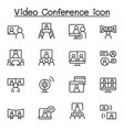 set video conference line icons contains such vector image