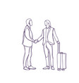 sketch business man greeting businessman with vector image