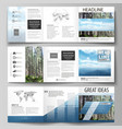 templates for tri fold square design brochures vector image