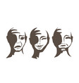 the monochrome faces of people vector image vector image