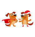 two dog characters christmas hat superhero cape vector image vector image