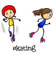 Two girls skating vector image vector image