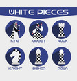 white chess pieces set vector image vector image