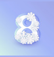 winter eight 8 number with snowflakes ice vector image vector image