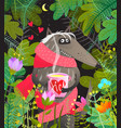 wolf in forest trees leaves in love vector image vector image