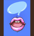 woman pink lips with gum bubble speech on pop art vector image vector image