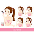 woman with step to apply cheeks makeup vector image vector image