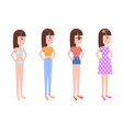 young girl in summer clothes stands in profile set vector image vector image