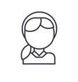 girl head line icon sign on vector image