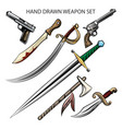 hand drawn weapon set vector image