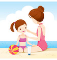 mother wearing sunscreen on daughter face vector image