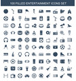 100 entertainment icons vector image vector image