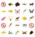 asian animals icons set flat style