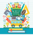 back to school banner with bus and flat icon set vector image vector image