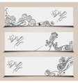 banner templates set with floral elements vector image vector image