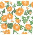 beautiful orange flower and leaf seamless pattern vector image vector image