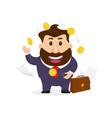 businessman juggler juggles coins vector image