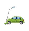 car bumped at the lamp post car insurance cartoon vector image vector image