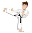 Cartoon Boy is dressed in kimono kicks vector image