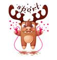 cartoon deer characters jump rope sport vector image vector image