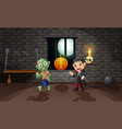 cartoon of vampire and zombie in the house vector image
