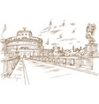castel santangelo hand draw rome vector image vector image