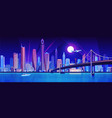 city bridge over water bay at night vector image