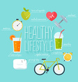 Concept of healthy lifestyle infographics Icons vector image vector image