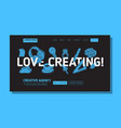 creative agency office landing page example mockup vector image vector image