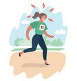 exhausted cartoon girl running vector image