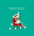funny paper coffee with marshmallows on red vector image vector image