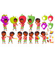 girl kindergarten kid poses set indian vector image