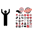 Hands Up Pose Flat Icon with Bonus vector image vector image