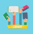 hands with books library persons holding opening vector image