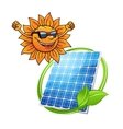 Happy sun with a photovoltaic cell vector image vector image