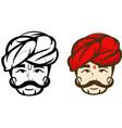 india headman colored mascot logo premium vector image vector image