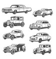 isolated monochrome old vehicles vector image