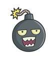 mad angry cartoon bomb with burning wick vector image vector image