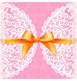 pink lacy wedding card with orange silky bow vector image vector image