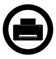 printer icon black color in circle vector image