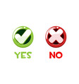 round glossy buttons yes and no for interface vector image