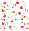 seamless carnation flowers pattern on white vector image vector image