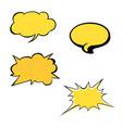 set of bright yellow blank speech bubbles vector image