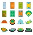 Stadium flat icons set vector image vector image