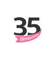 thirty five anniversary logo number 35 vector image vector image