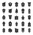 Tree bird house icons set simple style