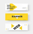white horizontal web banner with yellow triangle vector image vector image