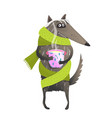 wolf wearing scarf drinking tea vector image